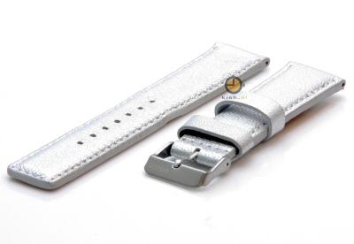 Oozoo horlogeband 22mm zilver leer
