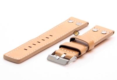 Oozoo horlogeband 22mm beige leer