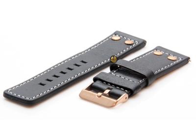Oozoo horlogeband 24mm grijs leer