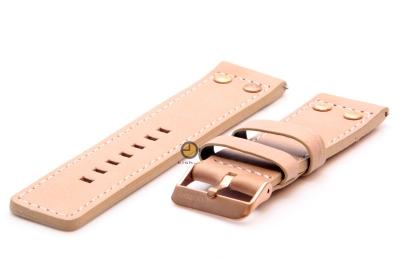 Oozoo horlogeband 24mm beige leer