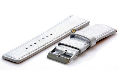 Oozoo horlogeband 24mm zilver leer