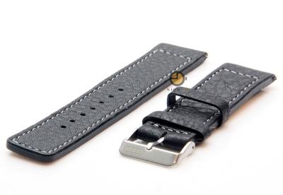 Oozoo horlogeband 20mm zwart leer