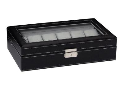 Horlogebox 12 stuks zwart leer