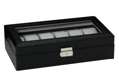 Horlogebox 12 stuks zwart carbon