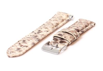 Gisoni Horlogeband slangenleer 24mm beige XL