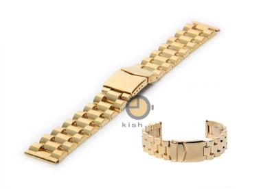 Horlogeband 24mm massief edelstaal goud - gepolijst