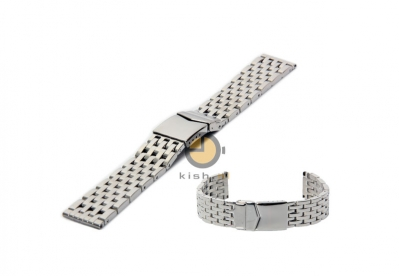 Horlogeband 22mm glans zilver