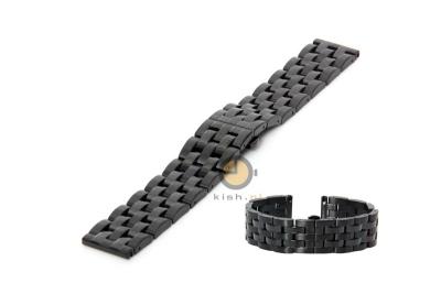 Horlogeband 22mm zwart staal - deels gepolijst (BRT)