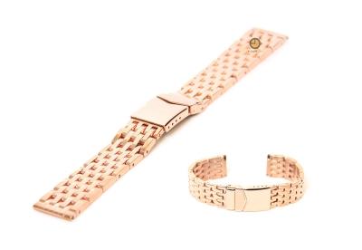 Horlogeband 22mm gepolijst staal rose - goud