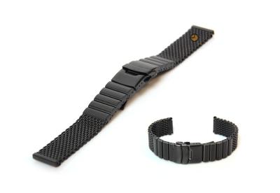 Horlogeband 22mm milanees mat zwart