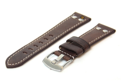 Horlogeband 24mm leer vintage donkerbruin