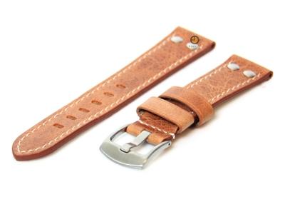 Horlogeband 24mm leer vintage bruin