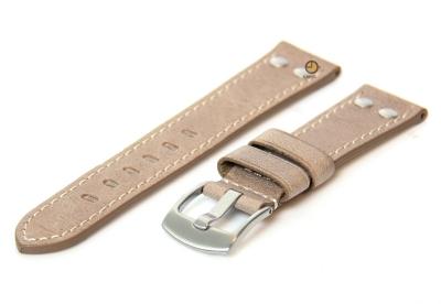 Horlogeband 24mm leer vintage taupe
