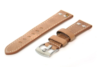Horlogeband 24mm leer vintage lichtbruin