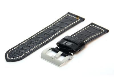Horlogeband 26mm leer croco zwart