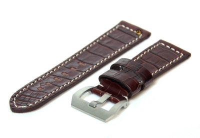 Horlogeband 26mm leer croco donkerbruin