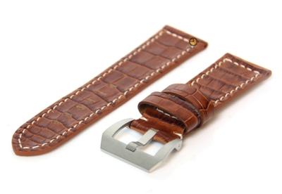 Horlogeband 26mm leer croco bruin
