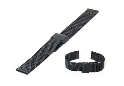 Milanese horlogeband 22mm zwart