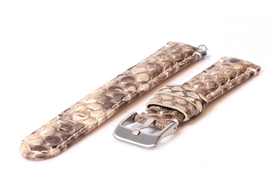 Gisoni Horlogeband slangenleer 20mm bruin