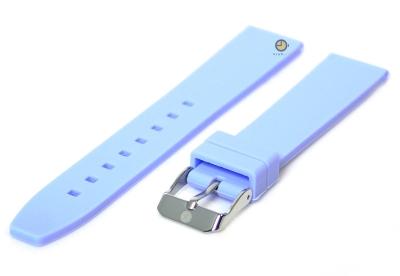 Horlogeband 16mm lichtblauw siliconen glad