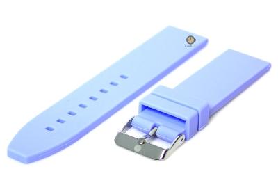 Horlogeband 20mm lichtblauw siliconen glad