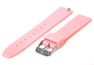 Horlogeband 16mm lichtroze siliconen glad