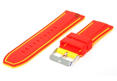 Omkeerbare horlogeband 26mm rood-geel siliconen