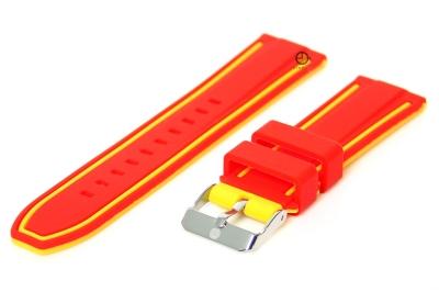 Omkeerbare horlogeband 20mm rood-geel siliconen