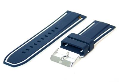 Omkeerbare horlogeband 26mm blauw-wit siliconen