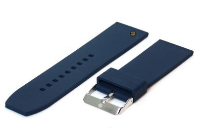 Horlogeband 24mm donkerblauw siliconen glad