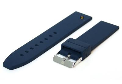 Horlogeband 22mm donkerblauw siliconen glad