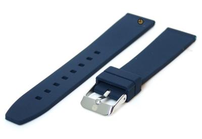 Horlogeband 16mm donkerblauw siliconen glad
