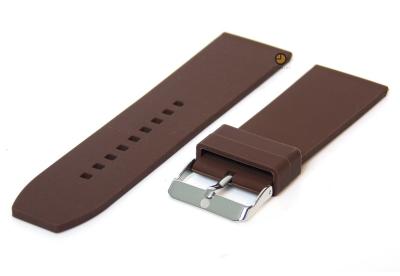 Horlogeband 28mm bruin siliconen glad