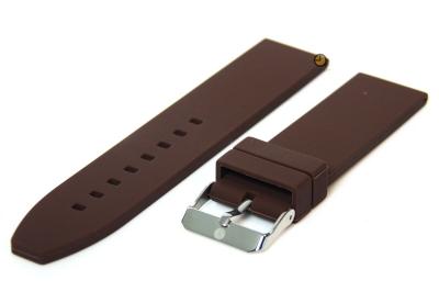 Horlogeband 24mm Bruin siliconen glad