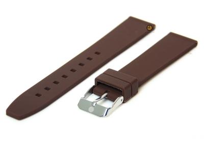 Horlogeband 18mm donkerbruin siliconen glad
