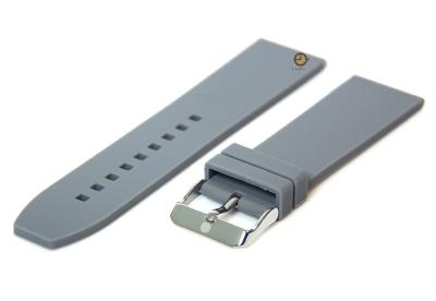 Horlogeband 24mm grijs siliconen glad