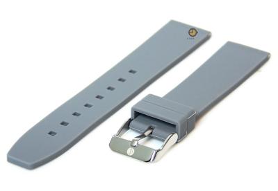 Horlogeband 20mm grijs siliconen glad
