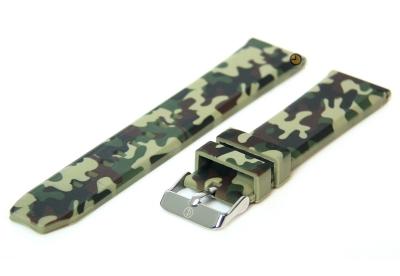 24mm siliconen horlogeband camouflage groen