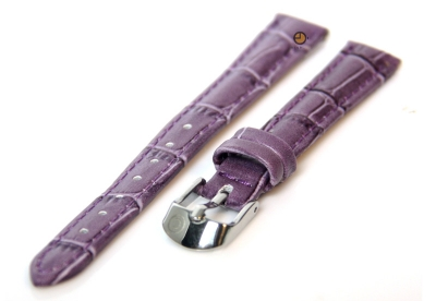 Horlogeband 12mm violet paars leer kroko