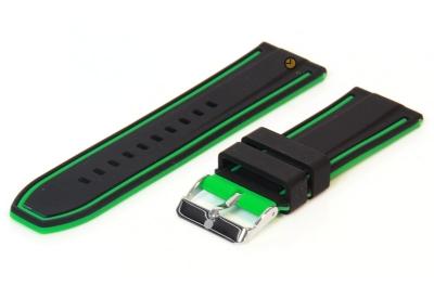 Omkeerbare horlogeband 26mm zwart-groen siliconen