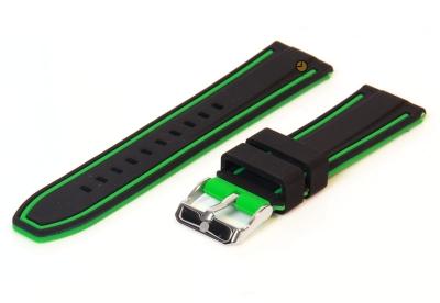 Omkeerbare horlogeband 22mm zwart-groen siliconen