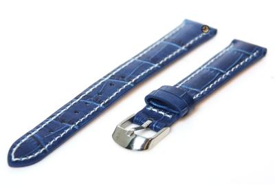 Horlogeband 12mm kroko leer blauw