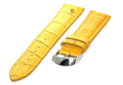 Horlogeband 18mm kroko leer geel