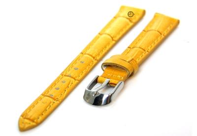 Horlogeband 12mm kroko leer geel