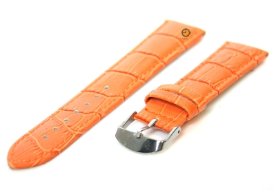 Horlogeband 18mm kroko leer oranje