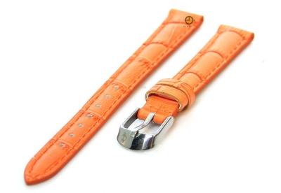 Horlogeband 12mm kroko leer oranje