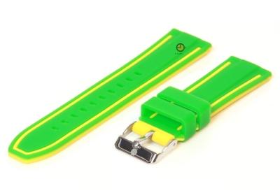 Omkeerbare horlogeband 20mm groen-geel siliconen