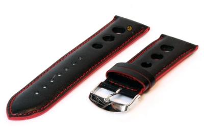Horlogeband 26mm zwart-rood leer rally