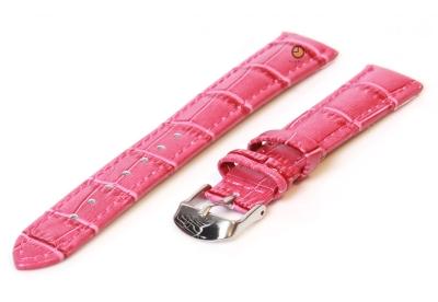 Horlogeband 12mm fuchsia leer kroko