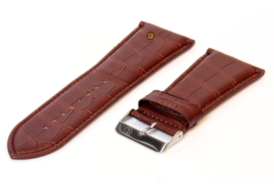 Horlogeband 32mm bruin leer croco